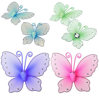 2PCS Butterfly Mesh Design Window Curtain Tie Back Tieback Hold Clips 4 Colors