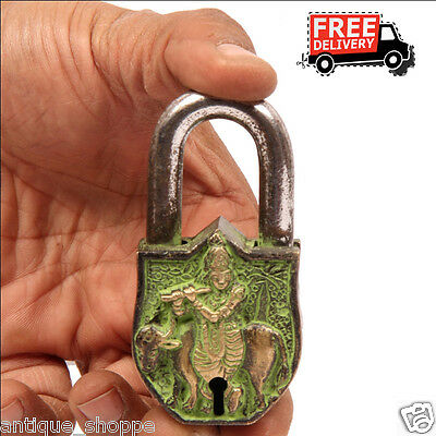 Brass Unique Handcrafted Lord Krishna Engraved / Embossed 2 Key Padlock 6899A
