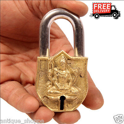 Brass Unique Handcrafted Lord Shiva Engraved / Embossed 2 Key Padlock 6902A