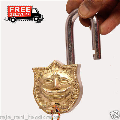 Brass Unique Handcrafted Lord Sun Engraved / Embossed 2 Key Padlock 6881A