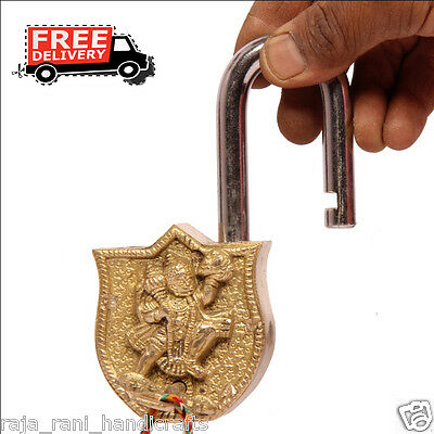 Brass Unique Handcrafted Lord Hanuman Engraved / Embossed 2 Key Padlock 6879A