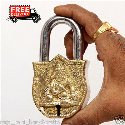 Brass Unique Handcrafted Lord Bal Gopal Engraved / Embossed 2 Key Padlock 6875A