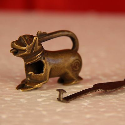 1800's Vintage Handcrafted Brass Dog Shape Lock Rich Patina 949A