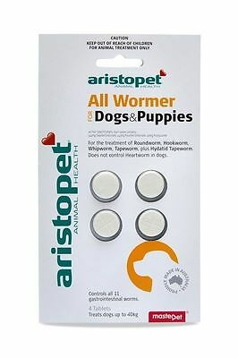 Aristopet Allwormer worming tablets for Dogs & Puppies 4, 6, 50 or 100 pack