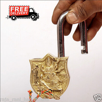 Brass Unique Handcrafted Goddess Saraswati Engraved / Embossed 2Key Padlock 60A