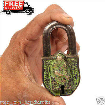 Antique Look Brass Unique Handcrafted Lord Sai Baba Engraved 2 Key Padlock 6891A