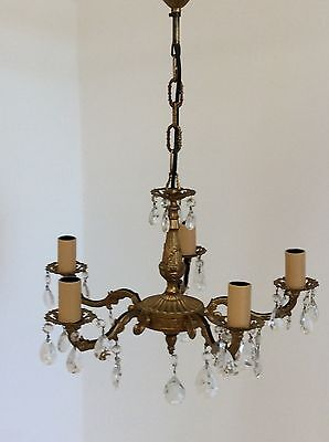 Antique Style Rococo Style Gilt and Glass  Chandelier