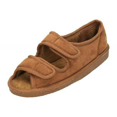 Mens Ladies Wide Fit Open Toe Touch Fastening Camel Brown Slippers Shoe