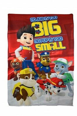 Paw Patrol 'No Pup Is Too Small' Boys Panel Fleece Blanket Throw Brand New Gift