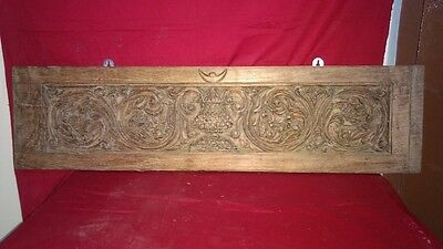 Antique Hand Floral Carved Wall Hanging Wooden Panel Vintage Plaque Interior rar