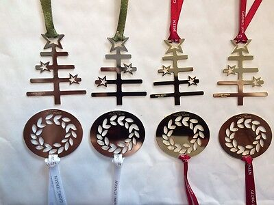8 Georg Jensen Christmas Decorations Silver & Gold Trees & Wreaths gift wrapped