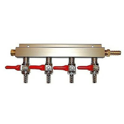 "4 Way CO2 Block Manifold with 5/16"" Barbs - Gas Distribution Splitter"