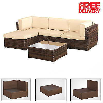 New Garden Rattan Lounge Set Sofa + Tables Outdoor Furniture Patio Conservatory