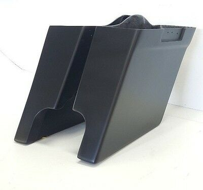 """Harley Davidson 6"""" Stretched Saddlebags No Lids Dual Pipes FLH Touring"""