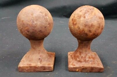Architectural Salvage Cast Iron Small Solid Ball Top Finials Set of 2