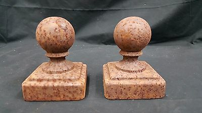 Architectural Salvage Cast Iron Large Solid Ball Top Finials Set of 2