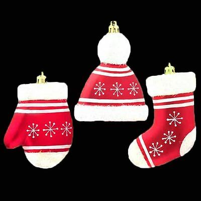 3 Red Hat Gloves & Stocking Christmas Tree Hanging Decorations Festive