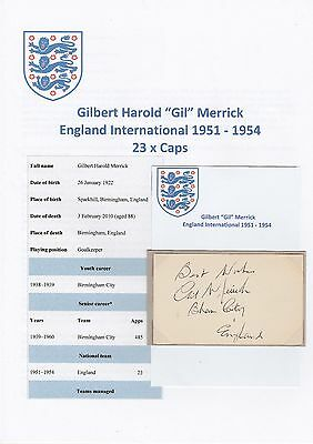 Gil Merrick England International 1951-1954 Rare Original Hand Signed Card