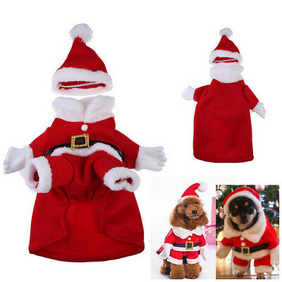 Pet Puppy Cat Dog Santa Claus Christmas Coat Costume Outfit Clothes Apparel New