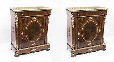 Pair Victorian Style Burr Walnut Marble top side cabinets