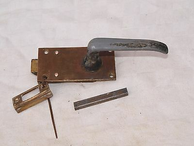 RECLAIMED METAL & BRASS TOILET WC DOOR PULL HANDLE KNOB AND KEEP & SPINDLE 2of4