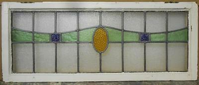 "LARGE OLD ENGLISH LEADED STAINED GLASS WINDOW Geometric Stripe 39"" x 16"""