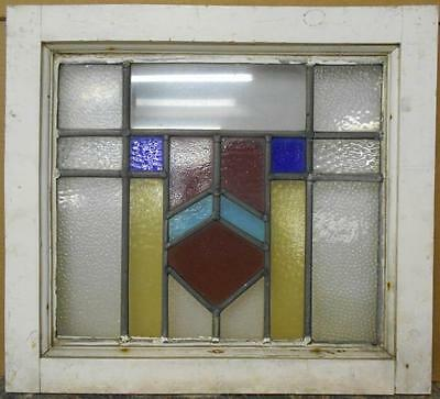"OLD ENGLISH LEADED STAINED GLASS WINDOW Nice Geometric 20.75"" x 18.75"""