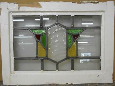 "OLD ENGLISH LEADED STAINED GLASS WINDOW Abstract Shield Design 20.5"" x 14.75"""