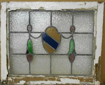"""MID SIZED OLD ENGLISH LEADED STAINED GLASS WINDOW Shield Swag 24"""" x 19.75"""""""