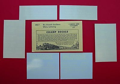 CHAMP DECALS ON-7 Rio Grande Southern White Lettering O Scale