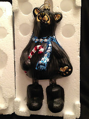"Jeff Fleming Signed 7"" Black Glass Christmas Hanging Ornament 2002 New Rare"