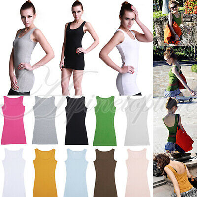 Women Long Slim Camisole Tank Top & Backless Solid Color Stretch Vest Waistcoat