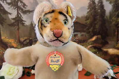 STEIFF 317 cute Punch Tiger Hand Doll Puppet Button Flag Breasttag 50-60ies VGC