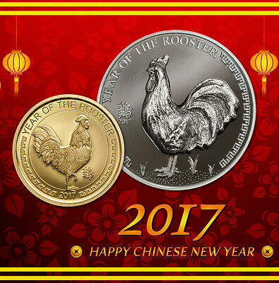 Year of The Rooster 1oz black proof silver and Gold proof coin Mongolia 2017