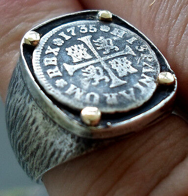 Genuine 1735 Silver Spanish 1/2 Reales Treasure Cob Coin Sterling &14K Ring