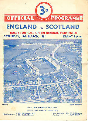 ENGLAND v SCOTLAND 1951 RUGBY PROGRAMME 17 MARCH - TWICKENHAM