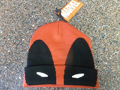 Marvel Deadpool Knit Hat Beanie Official New w Tags One Size Disney Acrylic