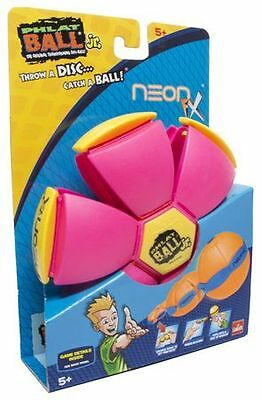 Phlat Ball Junior Pink Neon FX Transforming Frisbee Disc to Ball throwing Toy