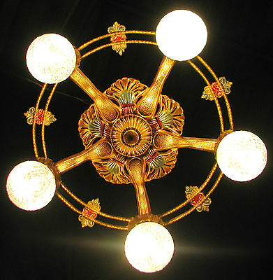 DECO ANTIQUE VICTORIAN CAST METAL CEILING LIGHT CHANDELIER FIXTURE 1930's