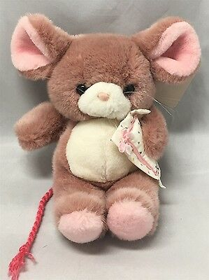 Vintage Russ Berrie Rose Pink Plush Stuffed MOUSE ANGELINA & Pillow # 882