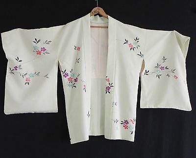 Vtg Kimono Silk Duster Hand Made Light Green One Size Silk