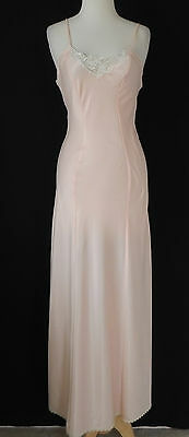 Vtg Lady Lynne Night Gown Full Length Light Pink Satin Lace Trim Size XS