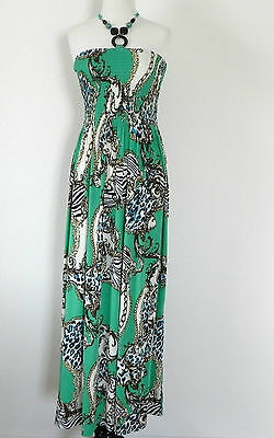 6144039f04 New Magic Halter Full Length Dress Size Large Green Multi Tones Empire Waist