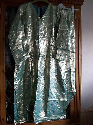 Gold & Turquoise Indian V-Neck Tunic Top & Trousers Uk8-10 **gc**