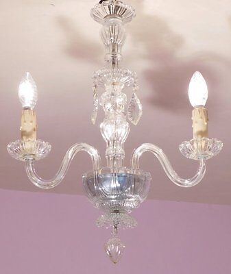 Lustrous 3 Light Vintage French Chandelier in Glass