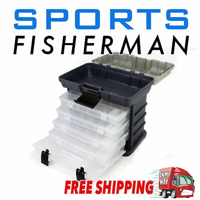 Tackle Box - 4 Removable Tackle Tray System With Top Bulk Storage
