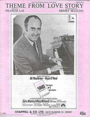 Theme from Love Story Piano solo sheet music vintage original 1971 Francis Lai