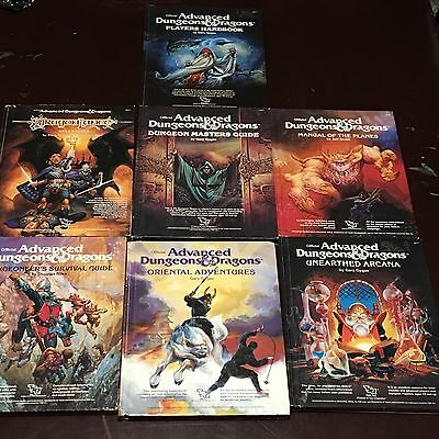 Lot 7 ADVANCED DUNGEON & DRAGONS Books Player's Guide DM Manual TSR AD&D 1st HB