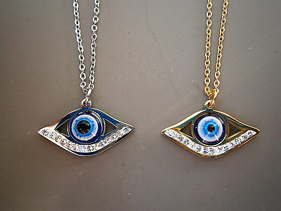 Stainless Steel Evil Eye Necklace Gold & Silver Tone Beads Greek Nazar Mati Bead