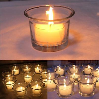 Clear Glass Tea Votive Pillar Candle Light Holder Wedding Party Xmas Decoration
